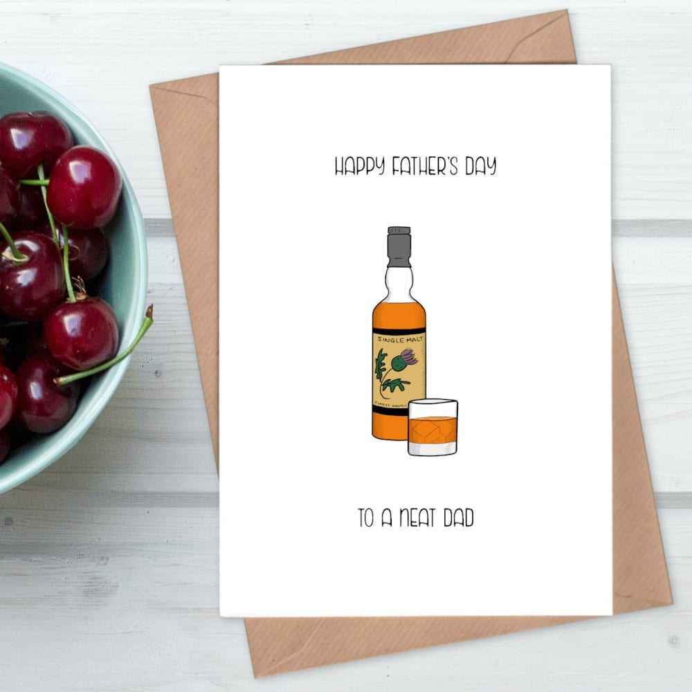 Neat whisky fathers day card