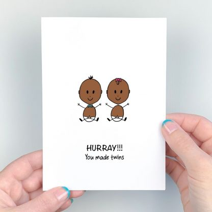 twins card dark skintone blue and pink