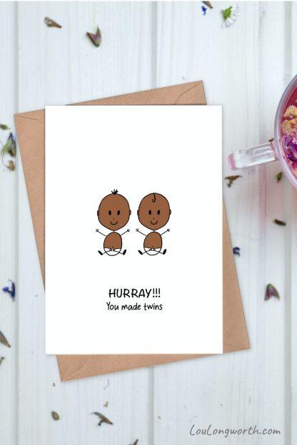 Twins congratulations card 2 pin