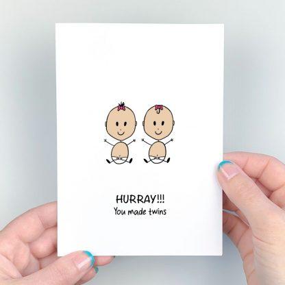 congratulations twins card light skin pink girls
