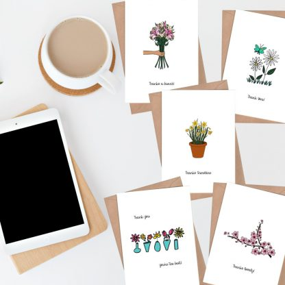 flowers set of thank you cards
