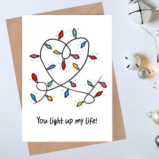 romantic holiday card - you light up my life