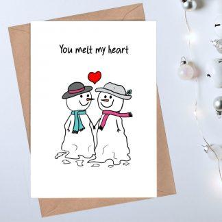 Romantic Christmas Card - you melt my heart
