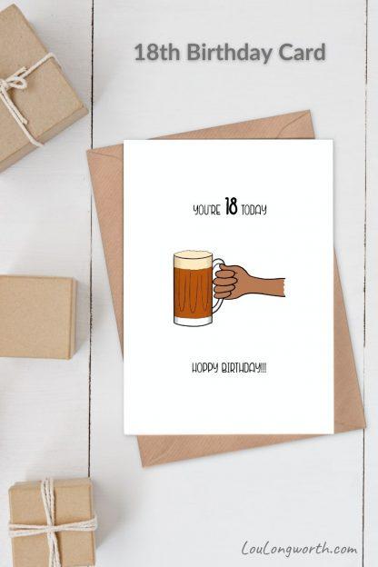 beer 18th birthday card