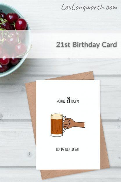 beer 21st birthday card