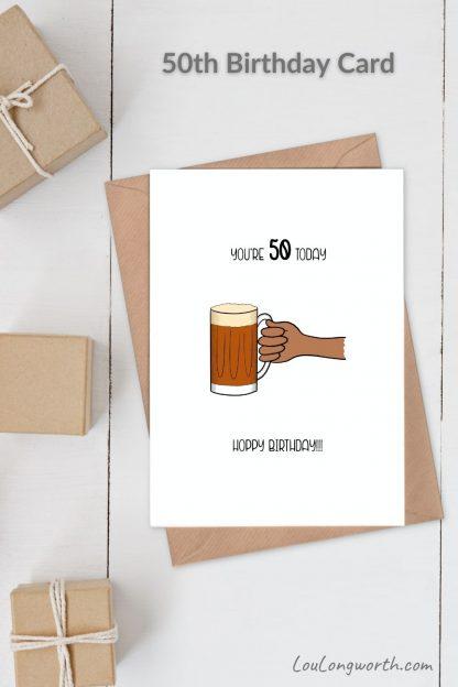 beer 50th birthday card