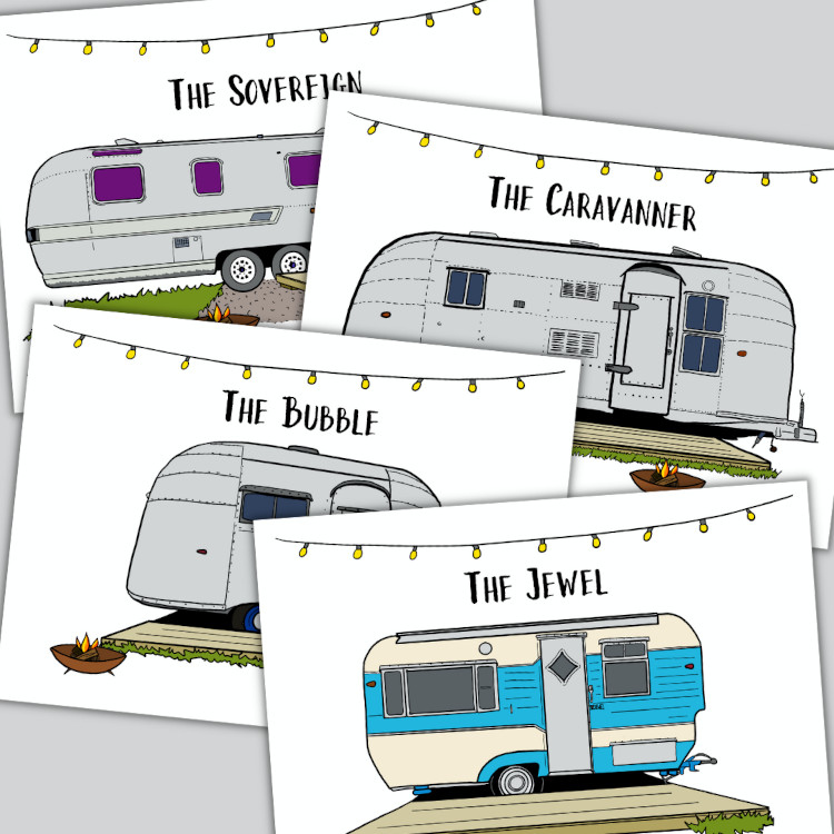 Custom postcards for Tin Can Camping